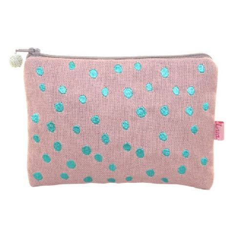 COLOUR EMBROIDERED DOTS PURSE BLUSH PINK